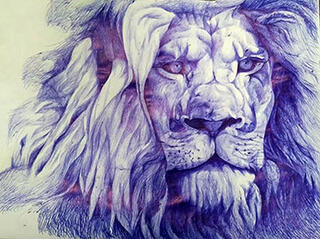 painting of a lion face by Jianping Li