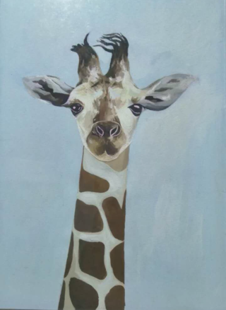 painting of a giraffe head by Jianping Li